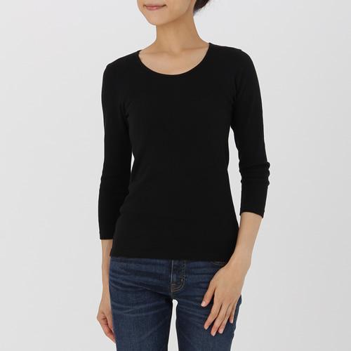 綿とウールで真冬もあったかUネック八分袖Tシャツ 婦人L・黒