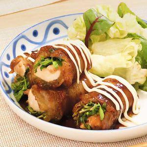 豆腐と豆苗の肉巻き